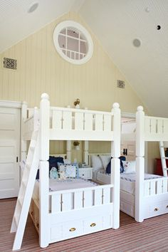 Three Twin Beds Design Ideas, Pictures, Remodel and Decor Girls Bunk Beds, Twin Bunk Beds, Murphy Beds, Lake Cottage, Cottage Homes, Bunk Bed Designs, Cottage Design, Cottage Style, Loft Spaces