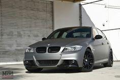 BMW E90 3 series wrapped in metallic matte gunmetal
