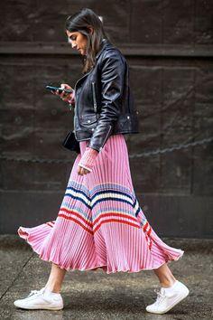 Le Fashion Blog Street Style Leather Moto Jacket Bubblegum Stripe Skirt White Sneakers Via The Zoe Report