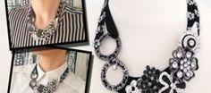 XXL DIY-Glam-Kette #diy #kette #necklace #buttons #style #blackandwhite #selbermachen #kreativ #schmuck