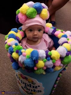 Kaitlyn: My 2 month old daughter is wearing the dip n dots costume. I came up with this costume because the whole time I was pregnant I could not stop thinking...