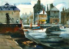 James Green, http://www.californiawatercolor.com/collections/all-watercolor-art-products/products/james_green_the_harbor_honfleur_france_1972