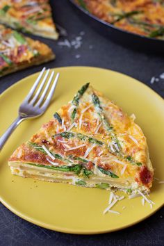 Jump into spring with this asparagus bacon potato frittata! It's loaded with seasonal asparagus, leek, slices of potato and bacon! A light and delicious way to pack in the protein and the veggies!