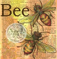 Bee Mixed Media Drawing on Distressed Dictionary Page Book Page Art, Old Book Pages, Art Pages, Book Art, Altered Books, Altered Art, Bee Drawing, Newspaper Art, Dictionary Words