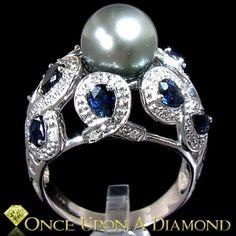 Tahitian Pearl, Sapphire & Diamond Cocktail Ring