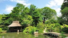 "Hiroshima, Shukkei-en (""condensed scenery garden""): beautiful, complex Japanese gardens designed as a collection of miniaturized scenic views, with a lake in the middle and with miniaturized islands, bridges, mountains & forests."