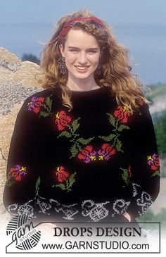 DROPS 23-16 - DROPS jumper with rococo flower pattern in Karisma Superwash. Size M. - Free pattern by DROPS Design