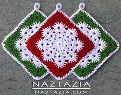 Free Pattern - Crochet Snowflake Ho tpad Potholder dishcloth... This makes a pretty afghan :)