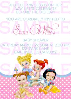 Baby Shower Invitation Princess Disney Babies Girl Announcement Invitation Digital File Only by PrissyInvites on Etsy https://www.etsy.com/listing/195005933/baby-shower-invitation-princess-disney