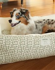 Our bolster dog bed provides a cushy sleeping surface that won't shift or clump.