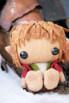 How cute is this guy? - Made to Order 3 Inch Bilbo Baggins Hobbit by SpookyPookyCreations