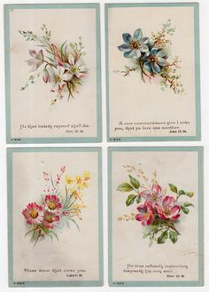 7 Victorian Bible Verse Religious Cards with Red Roses and Other Flowers | eBay