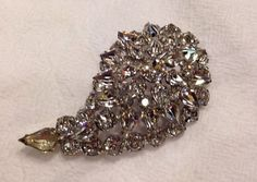 Vintage rhinestone paisley leaf brooch pin costume jewelry 1950s 1960s  bride wedding prom on Etsy, $38.40
