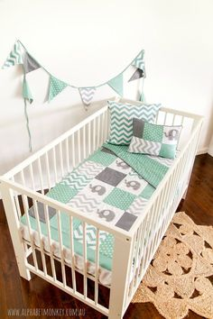 We make it easy to create the nursery of your dreams. Our Elephant Range is perfect for gender neutral nurseries and features gorgeous greys and mint greens.  The elephant quilt is one of our most popular designs and features our hand stitched felt elephants in a contemporary patchwork design to complement modern nurseries.    *Quilt Size 100 x 130 cm / 40 x 51 *This XL size patchwork quilt is pictured on a standard mattress and is plenty large enough for a large boori cot.   Five pce set…