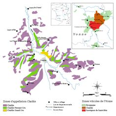 Map showing zones within the appellation of Chablis. Also shown is Chablis's position within France. Chablis Wine, Wine Facts, Chardonnay Wine, Japanese Wine, France, Wikimedia Commons, Champagne, Burgundy, Journal
