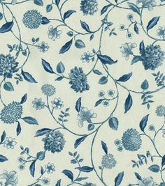 Home Decor Fabric-Waverly Language Of The Garden Nassau Vine Toile Porcelain