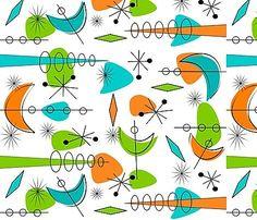 Boomerang/Starburst print on fabric