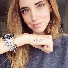 chiaraferragni's photo on Instagram  Haven't properly said thanks to you guys for this new goal: 3 Million Instagram followers. My new tattoo, #beautiful, goes to all the beauty that surrounds us and makes us smile inside. Thanks for being part of this beautiful dream. #TheBlondeSaladNeverStops