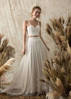 Dreamers and Lovers boho lace two piece wedding dress #laceweddingdress #bohoweddingdress #twopieceweddingdress
