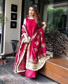 😍 Karwachauth special launch 😍😍😍 PG new exclusive launch. Wanna look like Beautiful bride this… Pakistani Fashion Party Wear, Pakistani Formal Dresses, Shadi Dresses, Pakistani Dress Design, Pakistani Outfits, Indian Outfits, Designer Party Wear Dresses, Indian Designer Outfits, Designer Wear