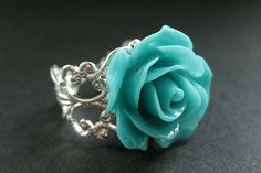 Love this......Turquoise Rose Ring Flower Ring Silver by StumblingOnSainthood, $16.00