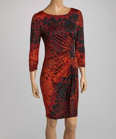 Another great find on #zulily! Rust Leopard Ruched Sheath Dress by AA Studio #zulilyfinds