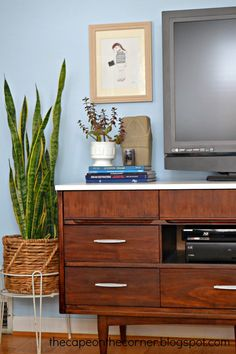 midcentury modern dresser into a tv stand