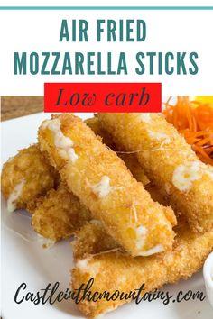 Air Fryer Recipes Keto, Air Frier Recipes, Air Fryer Dinner Recipes, Keto Recipes, Shrimp Recipes, Chicken Recipes, Mozzarella Sticks Recipe, Low Carb Marinara, Marinara Sauce