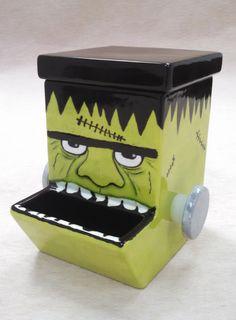 Nut/Candy Dispenser painted like Frankenstein for Halloween!