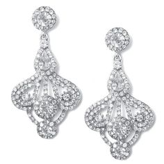 Art Deco Fan Rhinestone Earrings (Available in Gold or Silver)