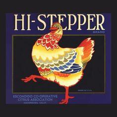Hi Stepper Chicken Vintage Fruit Crate Label Art Fridge Magnet by YesterdayCafe