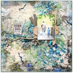 Into the woods, mixed media scrapbooking texture and colors by Wilma Voermans