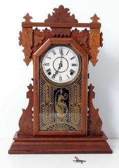 "Antique Ingraham Gingerbread Clock Working 20.5"" Tall | #1831031982"