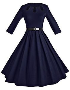 73d8a8646f1 GownTown Women s 1950s Vintage 3 4 Sleeve Pleated Swing Cocktail Dress   gt  gt