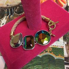 J. Crew Brûlèè Braided Bracelet NWT Faceted glass epoxy stone w/a Braided leather rope for a new twist. Length 6.75ins. Very cute!! J. Crew Jewelry Bracelets