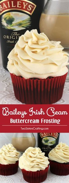 Baileys Irish Cream Buttercream Frosting - part of our Boozy Buttercream series. Sweet, creamy and delicious with just a hint of Baileys Irish Cream Liqueur. This homemade icing recipe will wow your family and party guests. It is the perfect Holiday frosting for cupcakes, cakes or cookies! Pin this flavored buttercream frosting for later and follow us for more great Frosting recipe ideas. #ButtercreamFrosting #BaileysIrishCreme #FrostingRecipes