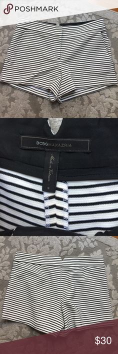 BCBG black and white shorts BCBG Max Azria striped shorts size Small. Cotton / poly / modal blend. Two front pockets. EXCELLENT CONDITION, only worn once! BCBGMaxAzria Shorts