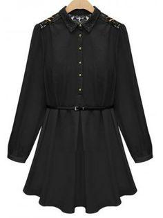 Lace Black Chiffon Shirt Dress