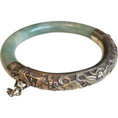 Vintage Chinese Repousse Silver & Jade Bangle Bracelet
