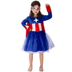Supergirl Cosplay Costumes Halloween Stage Performance Children Girl Dress Fantasia Vestido Tutu Dress Kids Captain America #Affiliate
