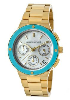 Women's Chronograph White Mother Of Pearl Dial Gold Tone Ion Plated Stainless Steel