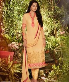 Buy Light Yellow Georgette Churidar Suit 72974 online at lowest price from huge collection of salwar kameez at Indianclothstore.com.