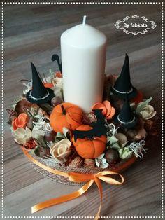 Asztaldísz - ősz Fall Home Decor, Autumn Home, Fall Crafts, Diy And Crafts, Pine Cone Art, Fabric Pumpkins, Fall Halloween, Diy Room Decor, Pillar Candles