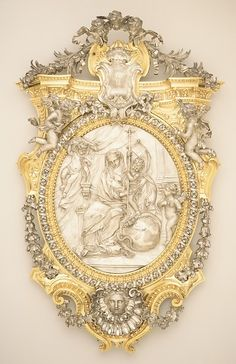 The Virgin and Child Triumphing over Evil Classical Realism, Baroque Art, Old Frames, Filigree Design, Miniature Crafts, Touch Of Gold, Acanthus, Antique Shops, Religious Art