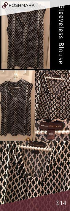 Sleeveless Blouse Black and Tan quarter foil pattern, fold over decorative neckline, sleeveless Tops Blouses