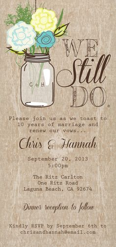 Mason Jar Printable Invitation, Rustic Wedding Invitation, Mason Jar Wedding Program, Vow Renewal on Etsy, $35.00