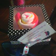 Teacher appreciation gift. Crazy socks rolled like a cupcake box.