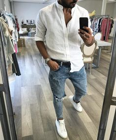 visit our website for the latest men's fashion trends products and tips . White Shirt Outfits, White Shirt And Jeans, Casual Outfits, Stylish Men, Men Casual, King Fashion, Men's Fashion, Fashion Trends, Summer Fashion Outfits