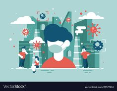 Buy Virus Attacks People by on GraphicRiver. Men and women wearing medical mask to avoiding infection flat style concept. Flat Illustration, Graphic Design Illustration, Free Vector Images, Vector Free, Yellow Aesthetic Pastel, Especie Animal, Nursing Notes, Okinawa, Motion Design