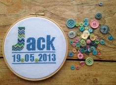 Custom Personalised Baby Name and Birth Date by FlutterbyButton, £20.00